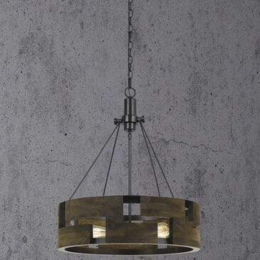Cal Lighting Bradford 60W 3-Light Chandelier in Smoky Wood, , large