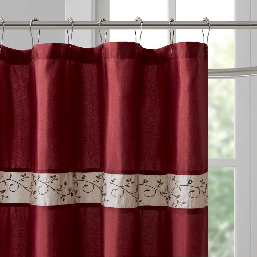 """Hampton Park Serene 72"""" Shower Curtain in Red, , large"""