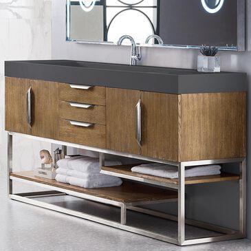 "James Martin Columbia 72"" Single Bathroom Vanity Cabinet in Latte Oak and Brushed Nickel, , large"