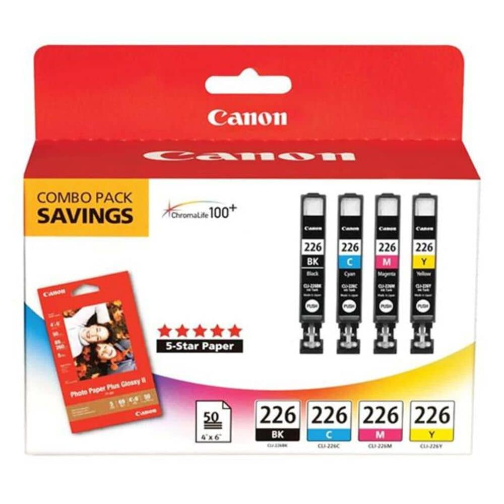 Canon CLI-226 4 Cartridge Combo Pack with PP-201 50 Sheets Paper Pack, , large