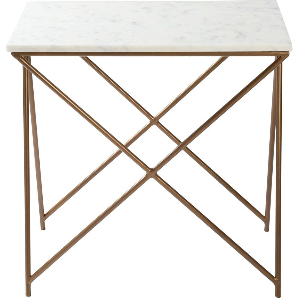 Surya Inc Norah End Table in White Marble and Gold, , large