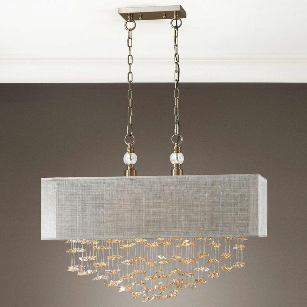 Uttermost Santina 2 Light Shade Pendant in Brass/Beige, , large