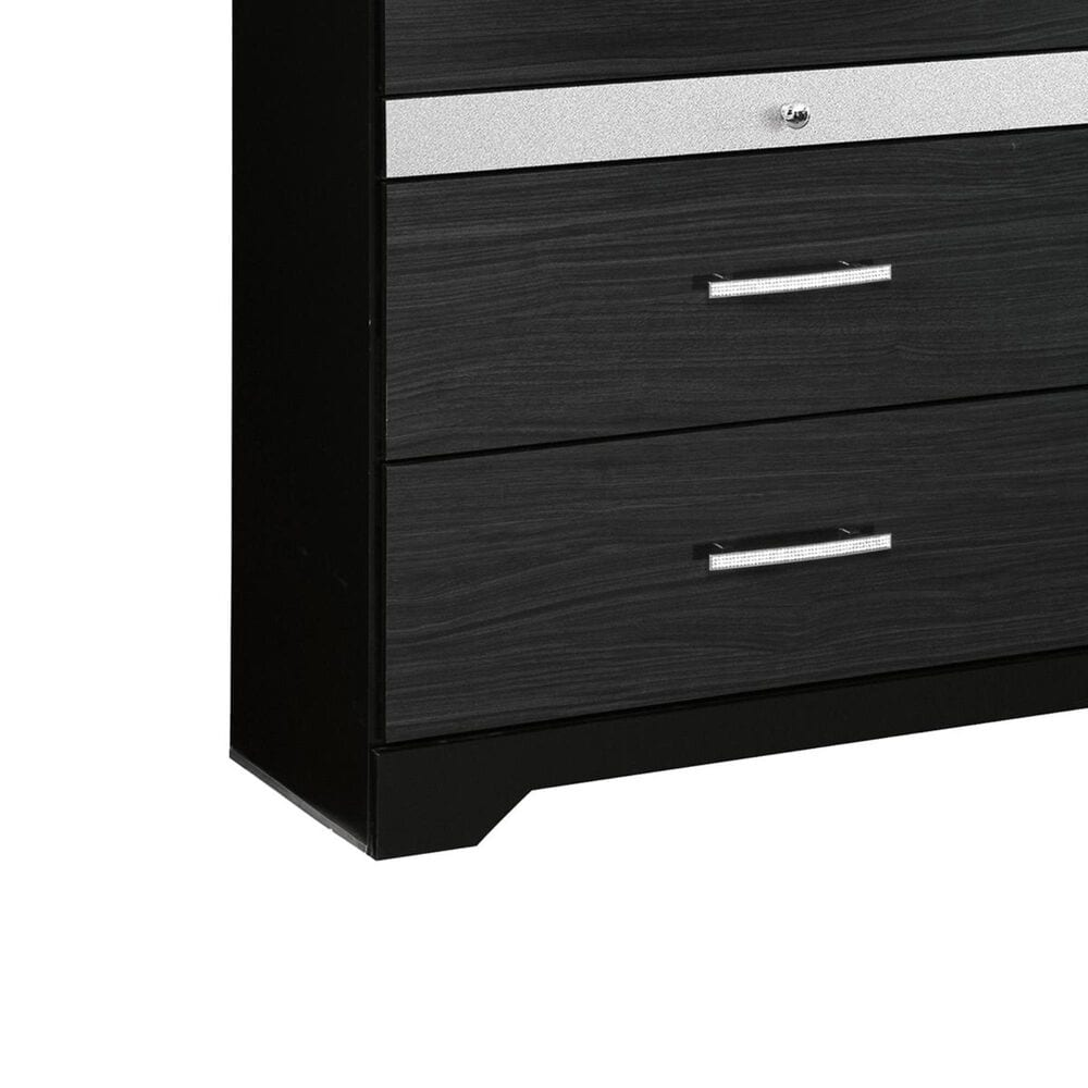 Signature Design by Ashley Starberry 6 Drawer Dresser in Black and Silvertone, , large