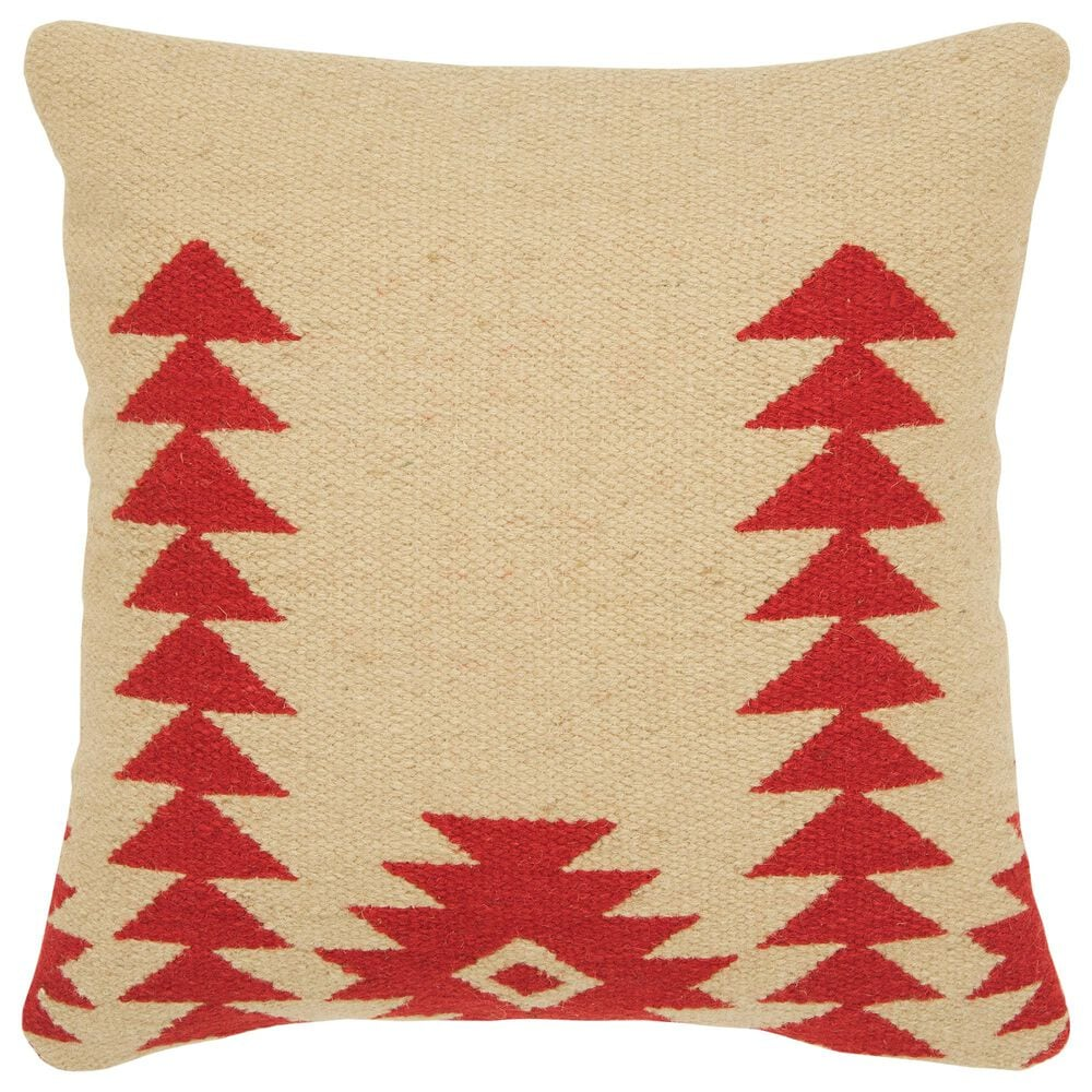 """Rizzy Home Aztek Motif 18"""" Poly Filled Pillow in Red, , large"""
