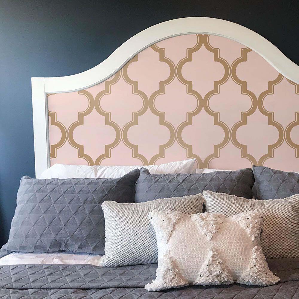 Tempaper Marrakesh Pink & Metallic Gold Peel and Stick Wallpaper, , large