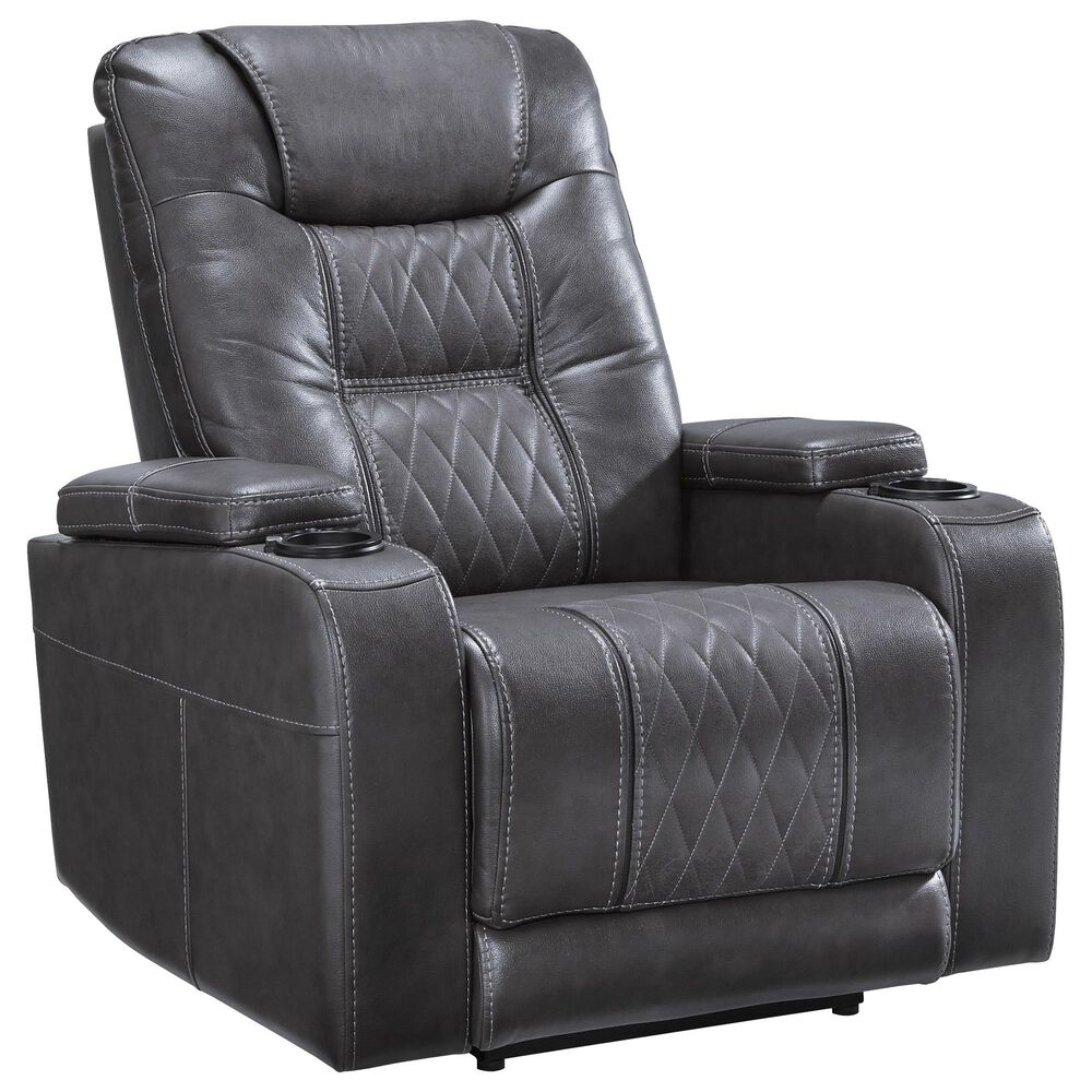 Signature Design by Ashley Composer Power Recliner with Adjustable Headrest in Grey, , large