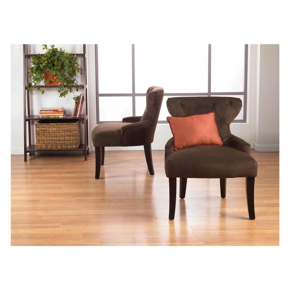 OSP Home Curves Hour Glass Accent Chair in Chocolate Velvet Fabric with Espresso Legs, , large