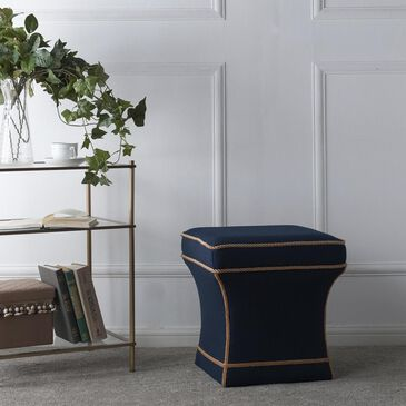 Jennifer Taylor Home Savannah Traditional Pedestal Ottoman in Midnight Blue, , large