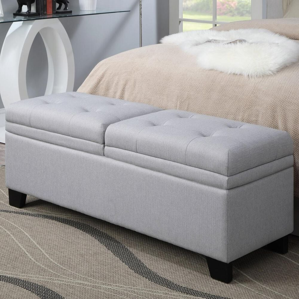 Accentric Approach Accentric Accents Upholstered Storage Bench in Grey, , large