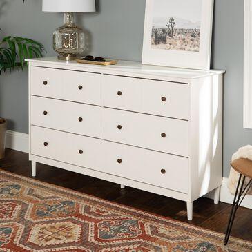 Walker Edison 6 Drawer Dresser in White, , large
