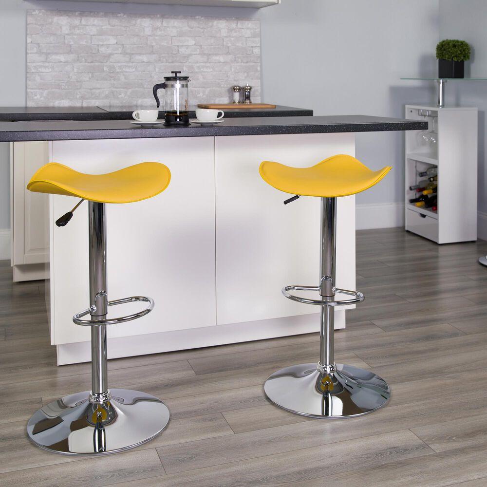 Flash Furniture Adjustable Barstool in Yellow, , large