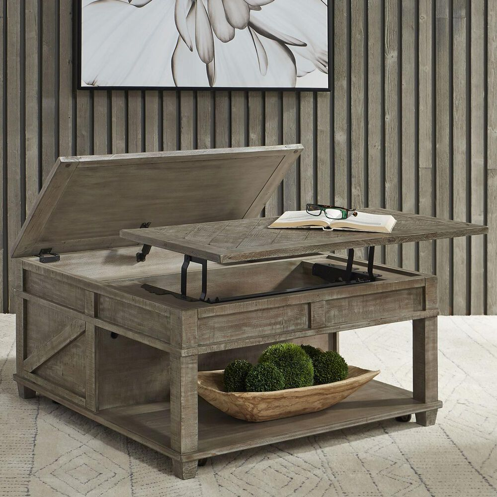 Belle Furnishings Parkland Falls Square Lift Top Cocktail Table in Weathered Taupe, , large