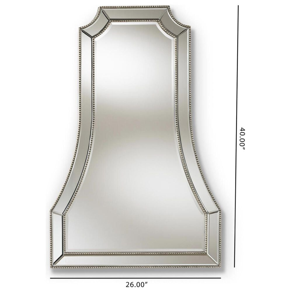 Baxton Studio Sanna Accent Wall Mirror in Antique Silver, , large