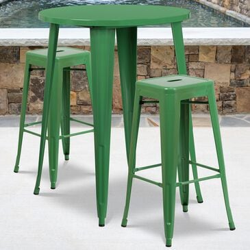 Flash Furniture 3-Piece Metal Bar Table Set in Green, , large