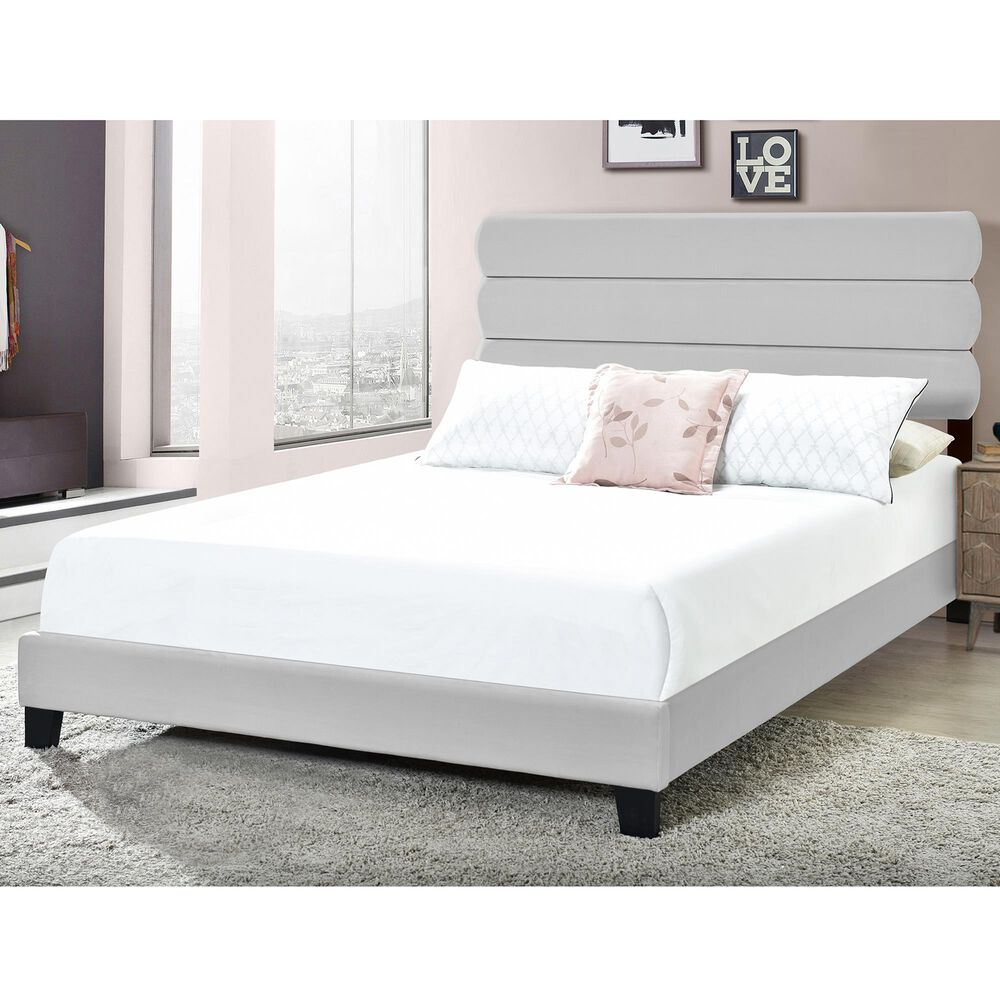 Accentric Approach King Slat Bed in Gray, , large