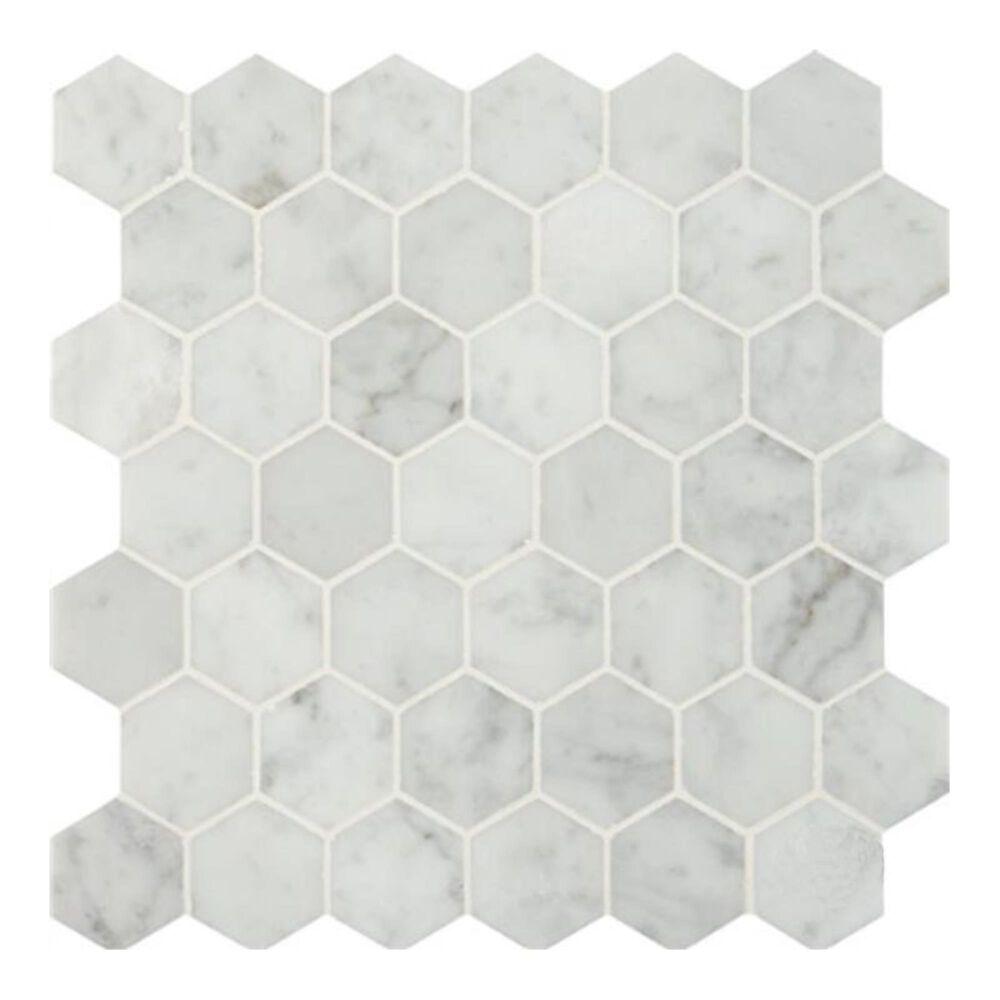 "MS International Carrara White 12"" x 12"" Polished Mosaic Sheet, , large"