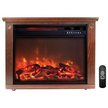 LifeSmart Square Fireplace Heater in Medium Oak, , large