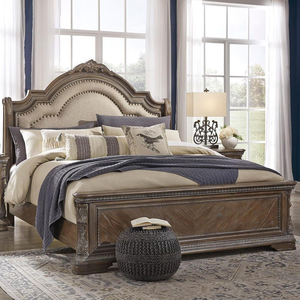 Signature Design by Ashley Charmond King Upholstered Bed in Linen/Brown, , large