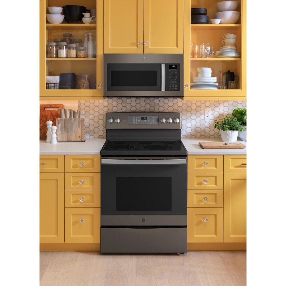 GE Appliances 2-Piece Kitchen Package with 30'' Electric Range and 1.9 Cu. Ft. Microwave Oven in Slate, , large