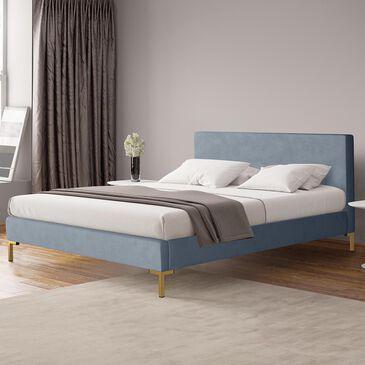 Skyline Furniture Twin Platform Bed in Velvet Ocean, , large