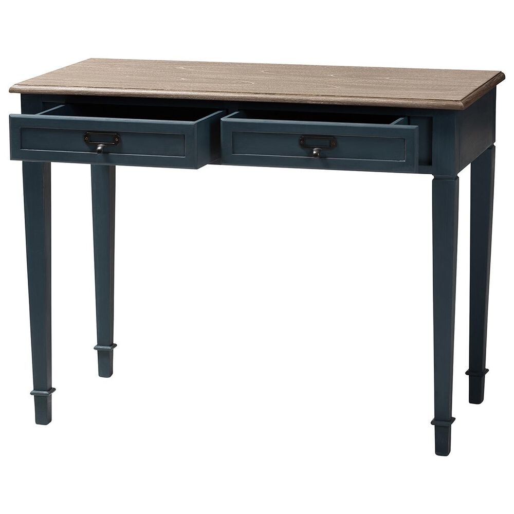 Baxton Studio Dauphine Writing Desk in Blue and Oak, , large