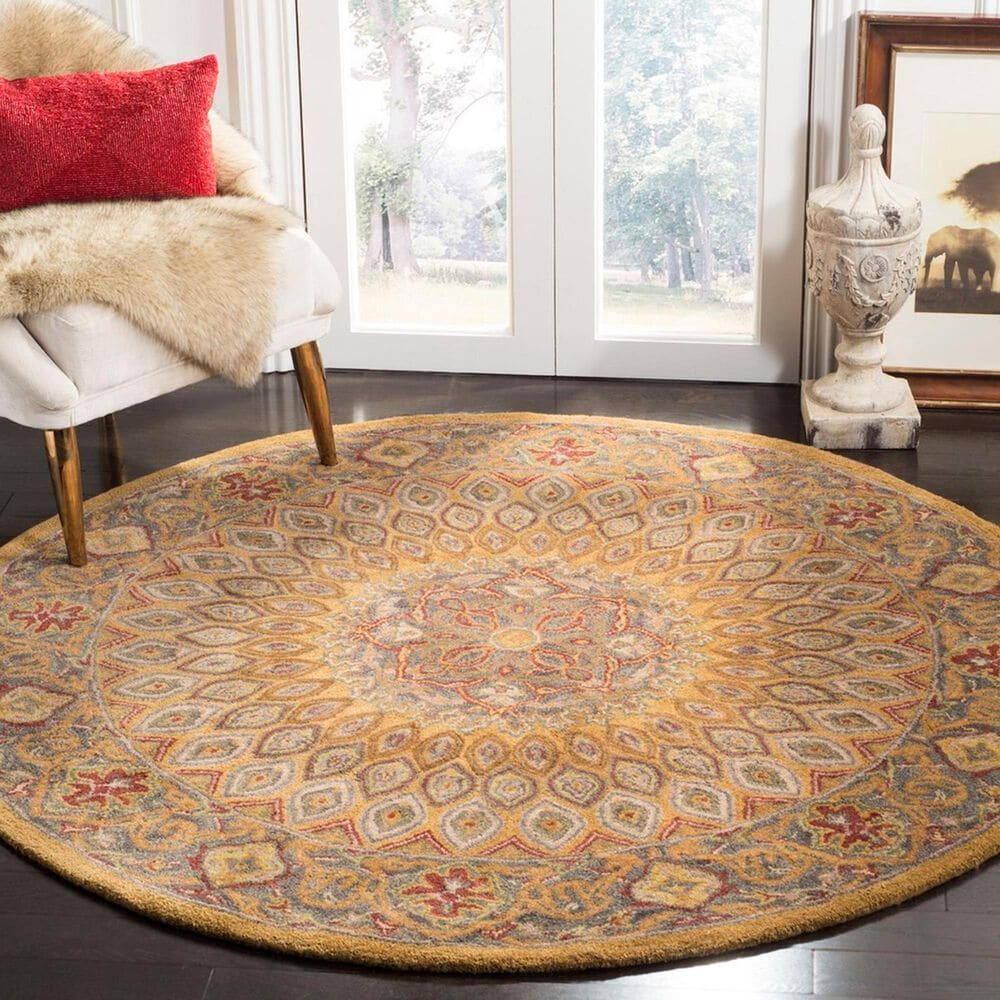 """Safavieh Heritage HG914A 3'6"""" Round Light Brown and Grey Area Rug, , large"""