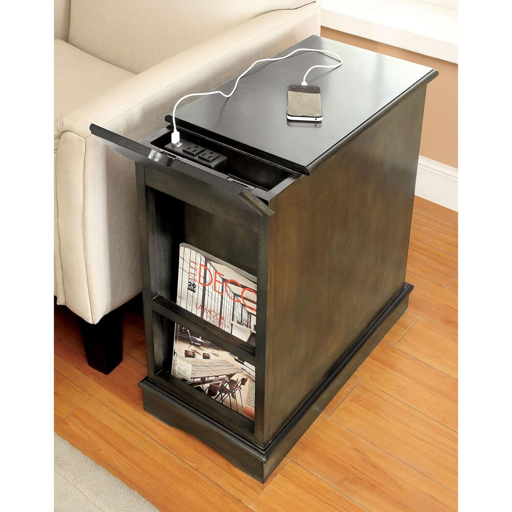 Furniture of America Corra USB Pull-Out Tray Side Table in Gray, , large