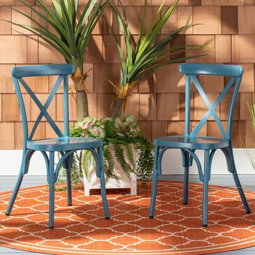 Safavieh Axton Stackable Side Chair in Matte Navy Blue (Set of 2), , large
