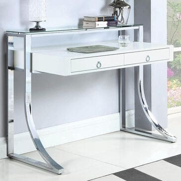 Pacific Landing Gemma Contemporary Writing Desk in Glossy White and Chrome, , large