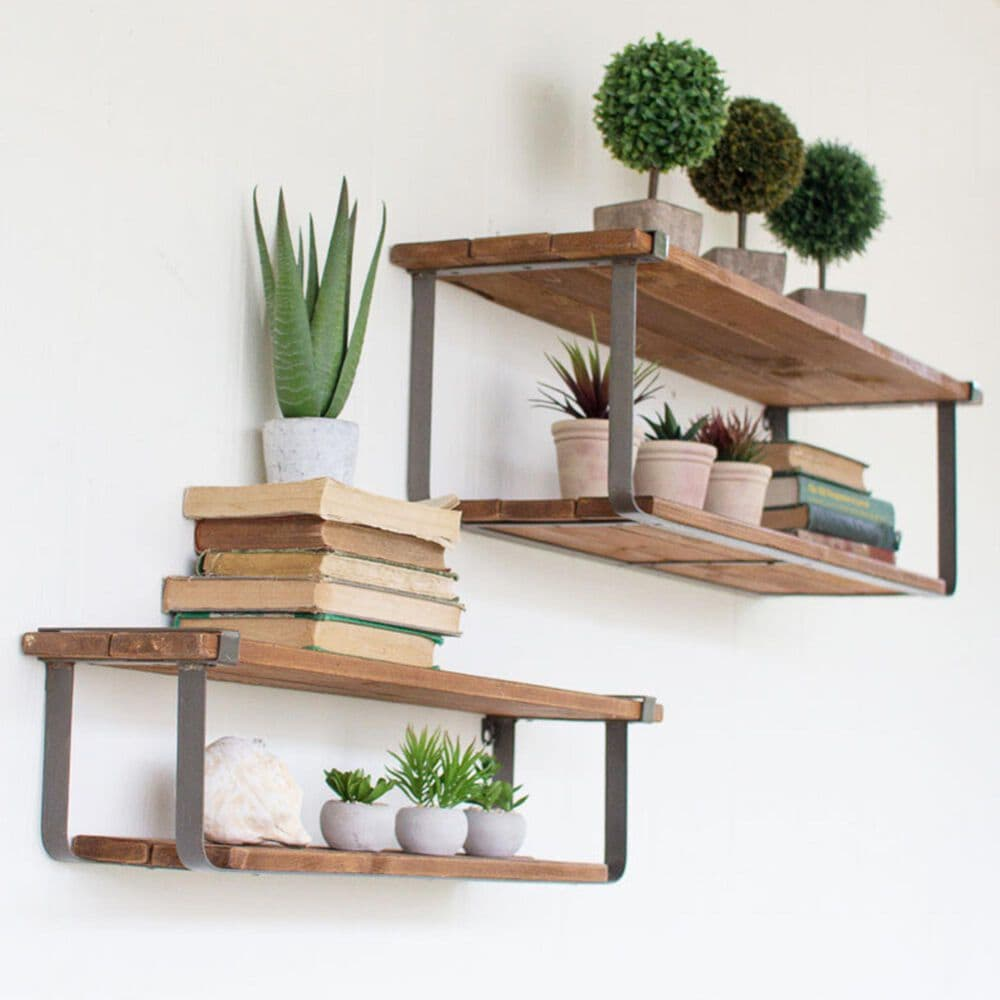Kalalou Industrial Wood & Metal Shelves (Set of 2), , large