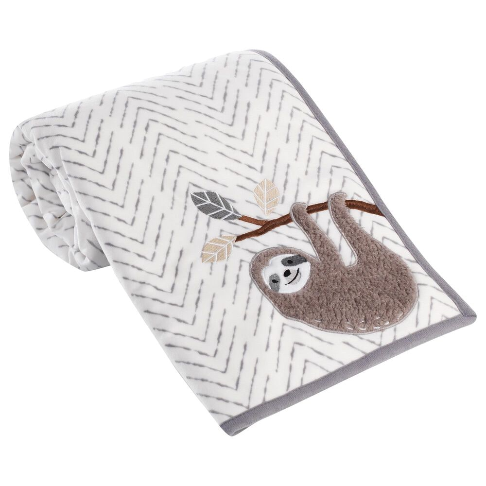 Lambs and Ivy Baby Jungle Sherpa Sloth Baby Blanket in Gray and White, , large