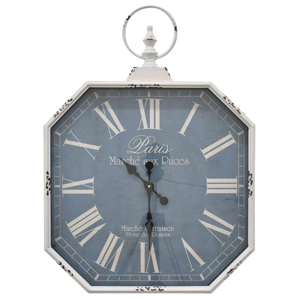 """Three Hands 23"""" Metal Wall Clock in White, , large"""
