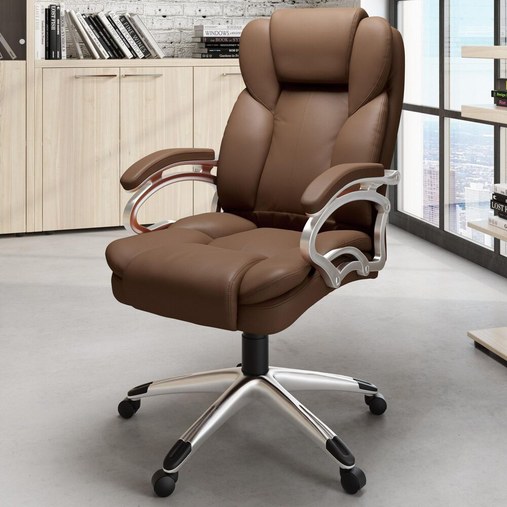 CorLiving Workspace Executive Office Chair in Caramel Brown, , large