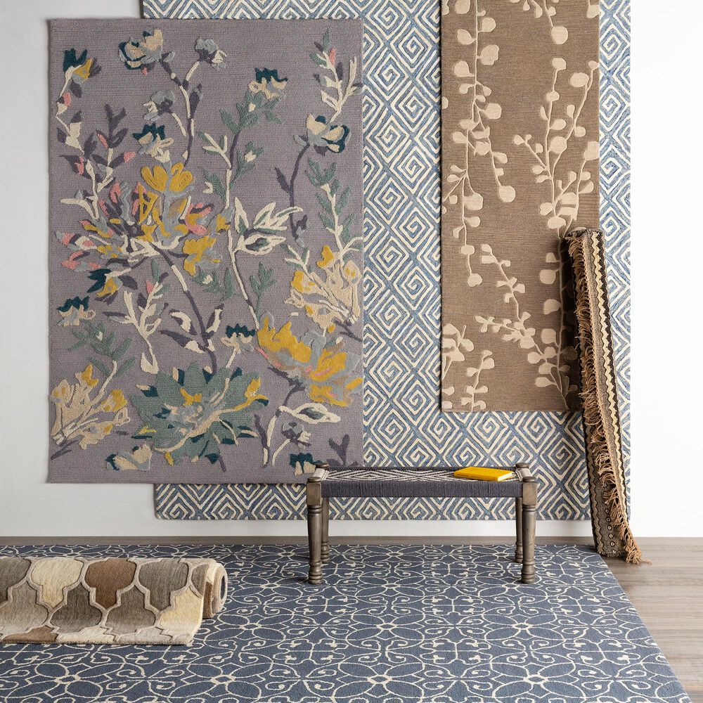 "Surya Botanical 5' x 7'6"" Gray, Saffron, Sage and Cream Area Rug, , large"