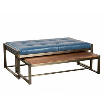 Jonathan Louis Rockford Nesting Ottoman and Cocktail Table Set in Blackened Brass, , large