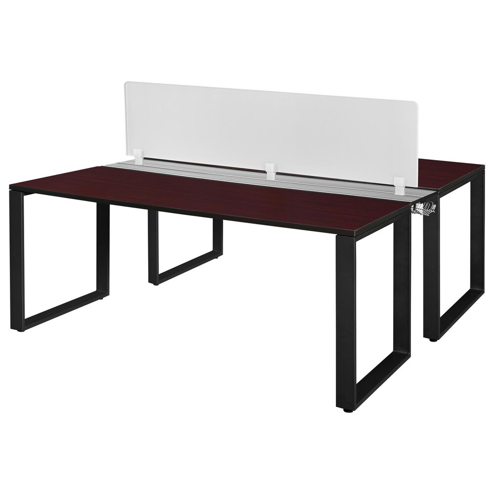 """Regency Global Sourcing Structure 72"""" x 24"""" Benching System with Divider in Mahogany, , large"""