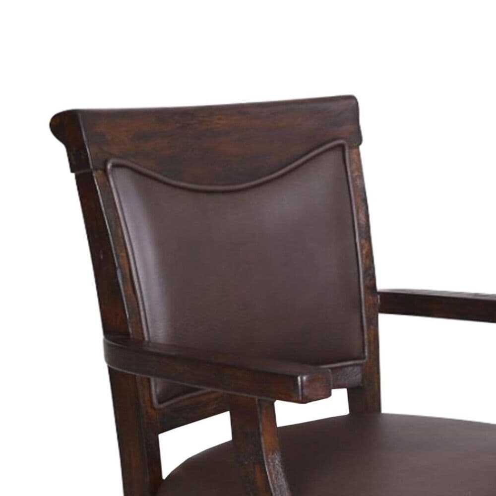 Radius Gettysburg Spectator Counter Stool with Brown Upholstered in Rich Oak, , large