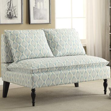 Accentric Approach Accentric Accents Upholstered Back Bench in Pattern Blue, , large