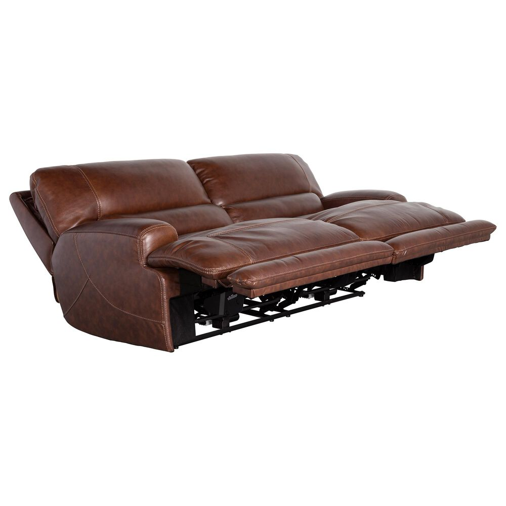Sienna Designs Leather Power Reclining Sofa with Power Headrest in Longhorn Bramble , , large