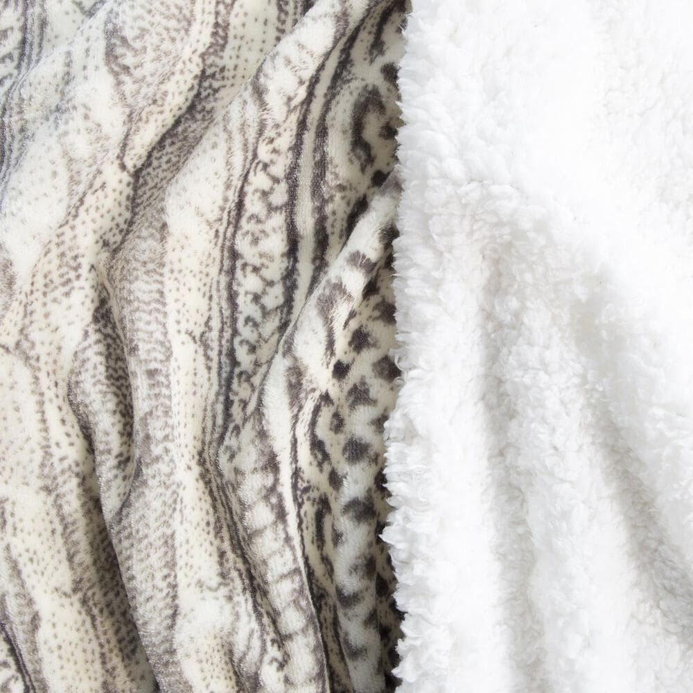 Timberlake Lavish Home King Flannel/Sherpa Blanket in Gray/Beige, , large