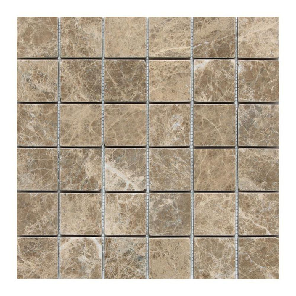 "Dal-Tile 2"" x 2"" Tumbled Mosaic Tile in Emperador Light Classic, , large"