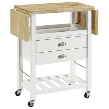 Crosley Furniture Bristol Double Drop Leaf Kitchen Cart in White, , large