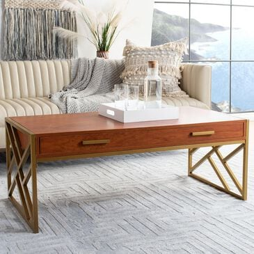 Safavieh Elaine 1-Drawer Coffee Table in Natural/Gold, , large