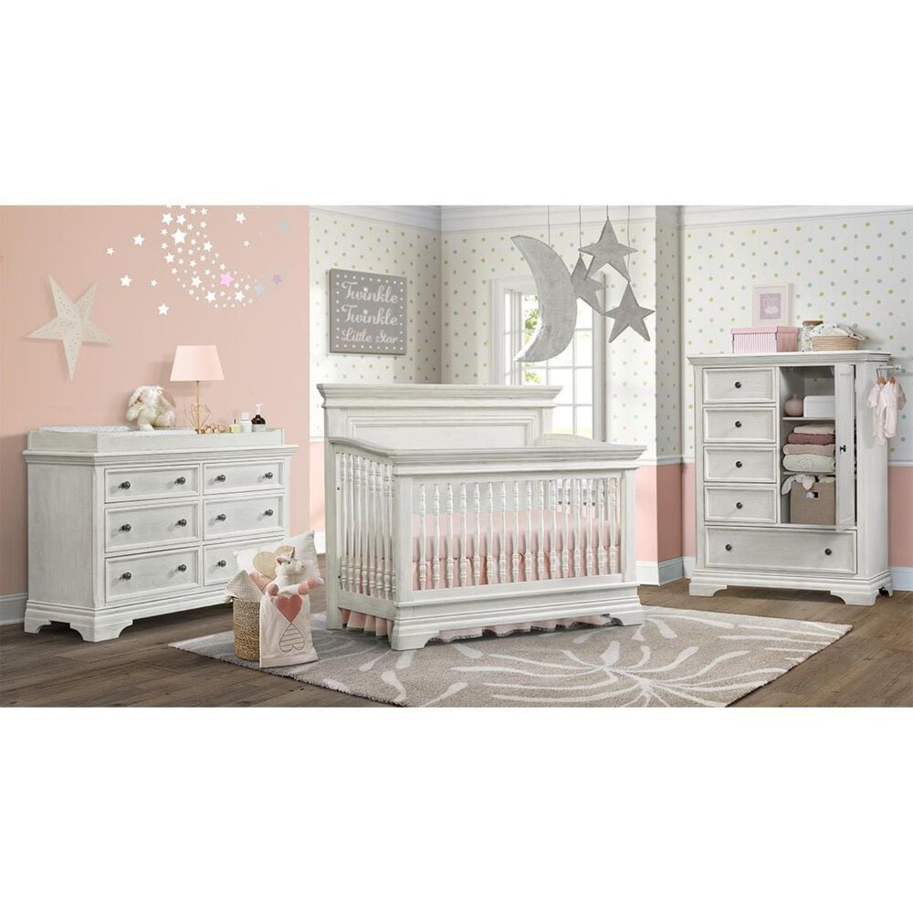Eastern Shore Olivia Crib and Dresser in Brushed White, , large