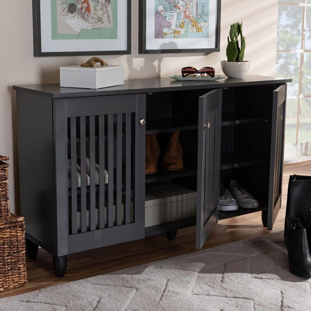 Baxton Studio Fernanda 3-Door Entryway Shoe Storage Cabinet in Dark Gray, , large