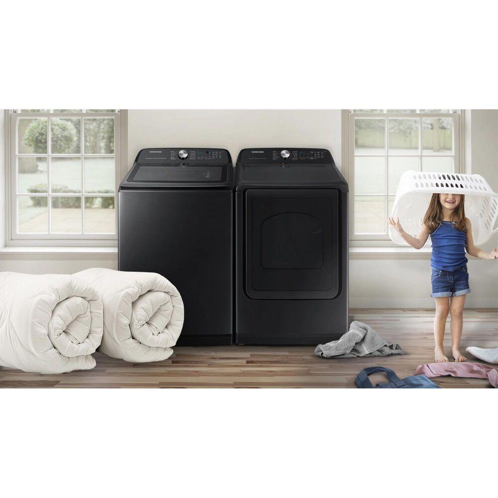Samsung 5.1 Cu. Ft. Smart Top Load Agitator Washer and 7.4 Cu. Ft. Gas Dryer in Brushed Black, , large