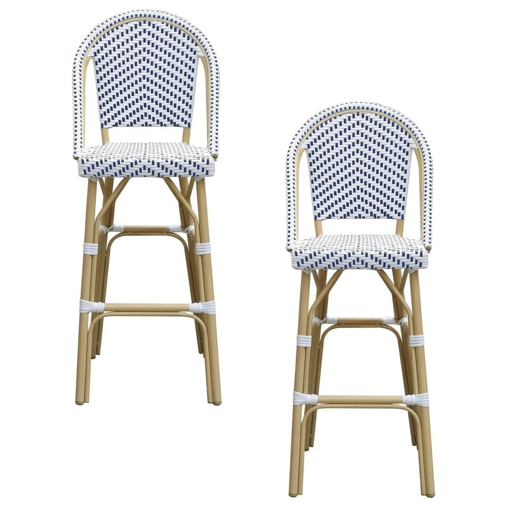 Furniture of America Toby Patio Bar Chair in Navy/White (Set of 2), , large