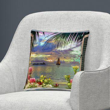 Timberlake Leo Kelly 'Window to Paradise III' 16 x 16 Decorative Throw Pillow, , large