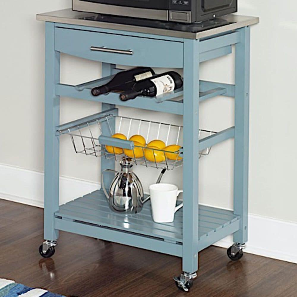 Linden Boulevard Leah Kitchen Cart in Blue, , large