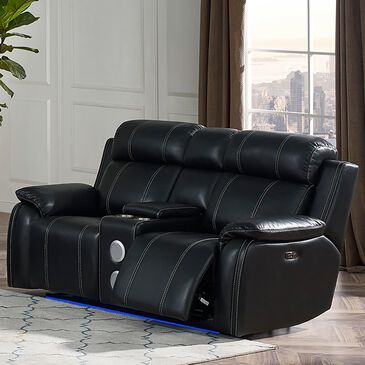 New Heritage Design Fusion Power Reclining Console Loveseat with Speaker in Ebony, , large